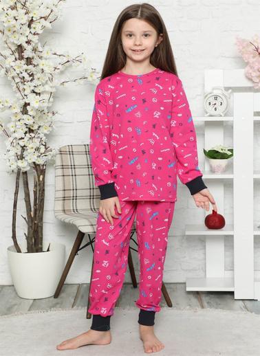 Akbeniz Çocuk Pamuk Uzun Kollu Pijama Takımı 4545 Fuşya